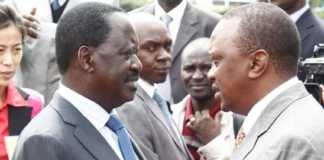 A file photo of NASA flag bearer Raila Odinga and President Uhuru Kenyatta.