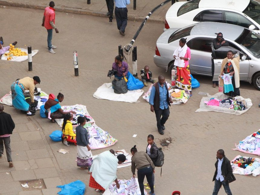 Hawkers outside Kenya National Archives in the Nairobi town centre. Photo / The Star