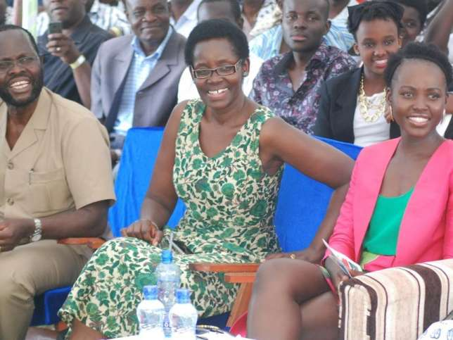 A file photo of politician Anyang' Nyong'o (right) with his wife Dorothy (left) and daughter Lupita