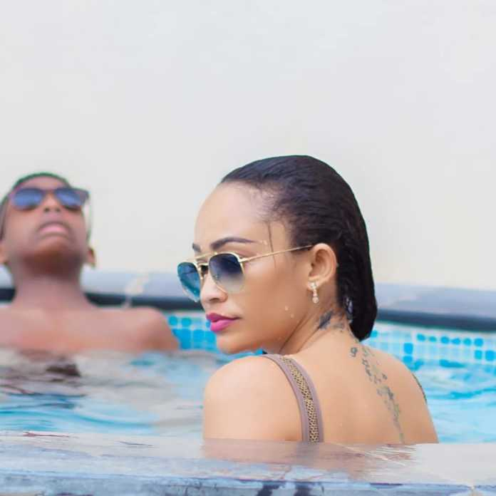 Zari and her sons in the pool