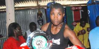 Conjestina Achieng during her active days in professional boxing.