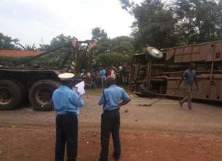 The Climax Coaches bus that overturned on Siaya-Kisumu road
