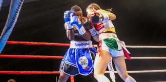 Fatuma Zarika (left) defends against Yamileth Mercado during their WBC Super Bantamweight Women world title fight at KICC, Nairobi on September 8 2018. Photo / SPN