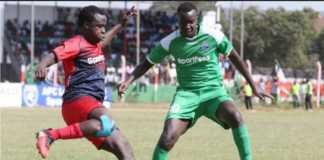 Humphrey Mieno of Gor Mahia FC in action against AFC Leopards SC during a recent SportPesa Premier League match. PHOTO/Goal.com
