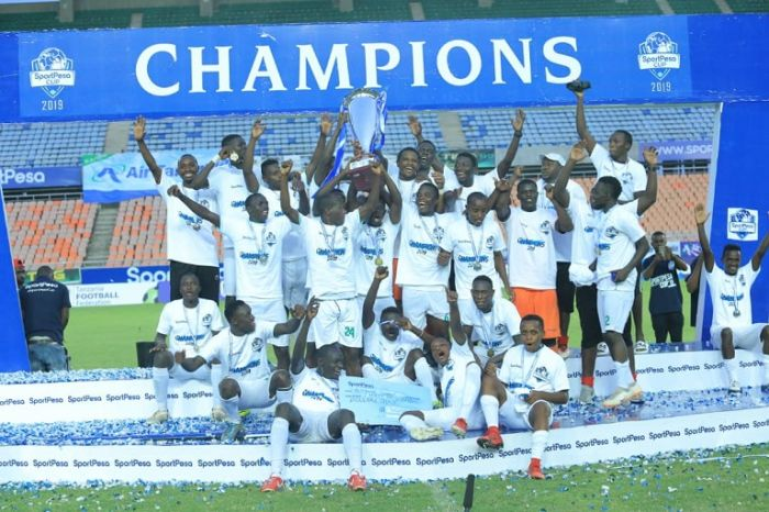 Kariobangi Sharks FC players celebrate after beating Bandari FC 1-0 to be crowned 2019 SportPesa Cup champions. PHOTO/SPN