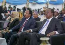 President Uhuru Kenyatta with his Somali Counterpart Mohamed Abdullahi Farmaajo, during his inauguration ceremony in Mogadishu, Somalia in 2017/File