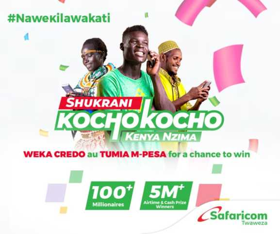 Top up airtime of Ksh 20 on M-Pesa or scratch card and start earning entries. Dial *456*0# to check entries. #ShukraniKochoKocho