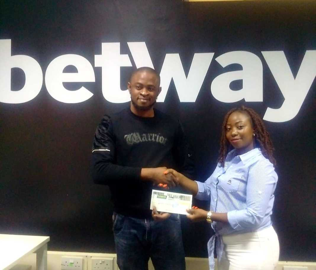 Emedo Henry who won a mbuzi from Betway Kenya