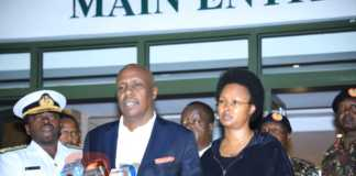 Gideon Moi and wife Zahra at Lee Funeral Home
