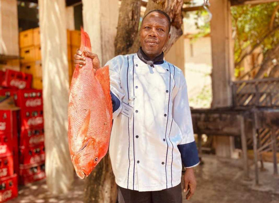 Chef Lennox displays the catch of the day at The Majlis Resort in Lamu