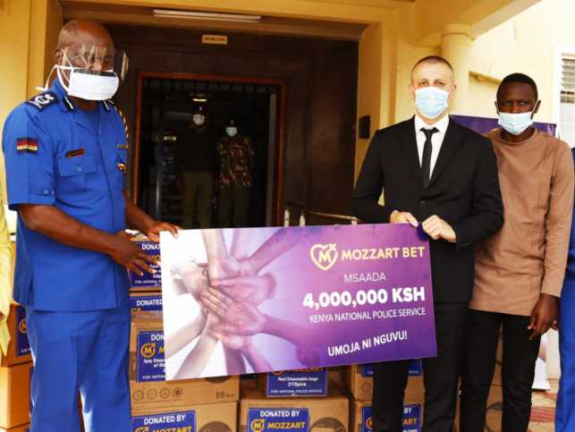 The dummy cheque for the donation of sh.4M worth of medical equipment presented by Mozzart Country Director Mr. Sasa Krneta to the Kenya Police