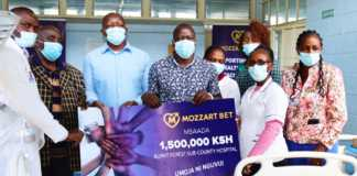 Presentation of the dummy cheque for sh.1.5 million to Burnt Forest Sub County Hospital