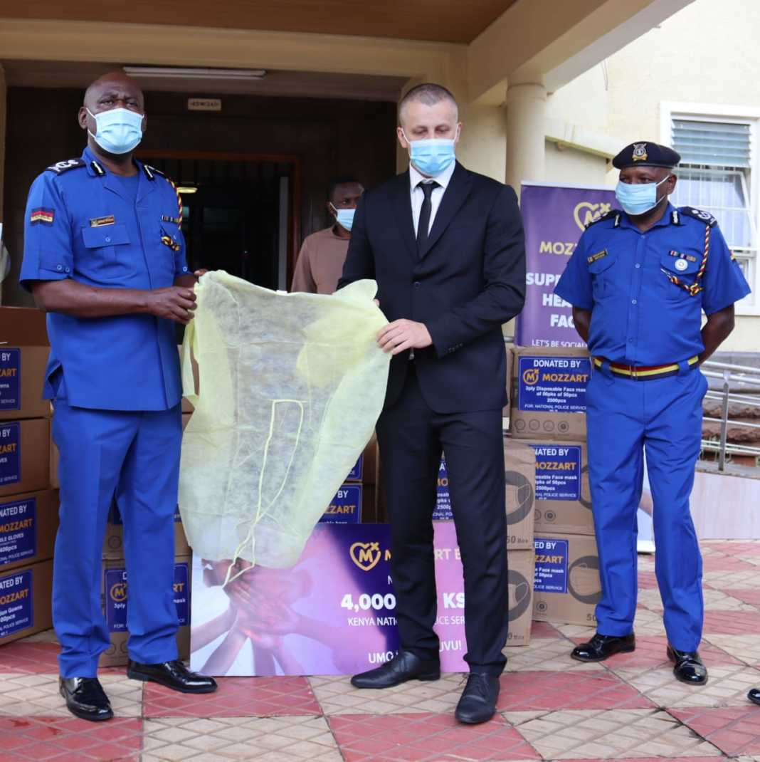 Mozzart Country Director Mr. Sasa Krneta presents the donated PPEs to the Kenya Police